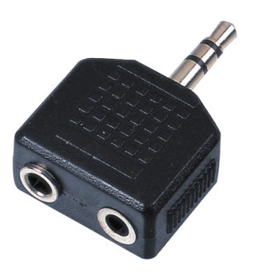 Adapter 2 x 6,3mm Jack F / 1 x 3,5mm Jack Stereo